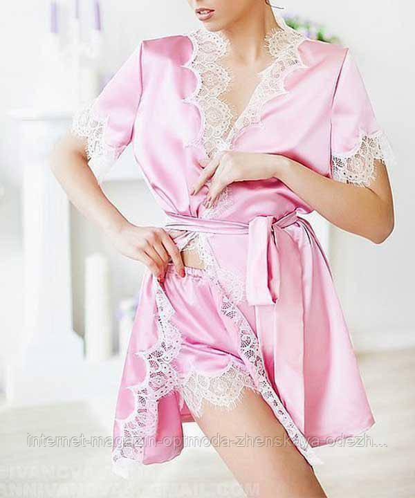 Женский халат, атлас, французское кружево, размер 44-46, 40-42, 48-50, розовый