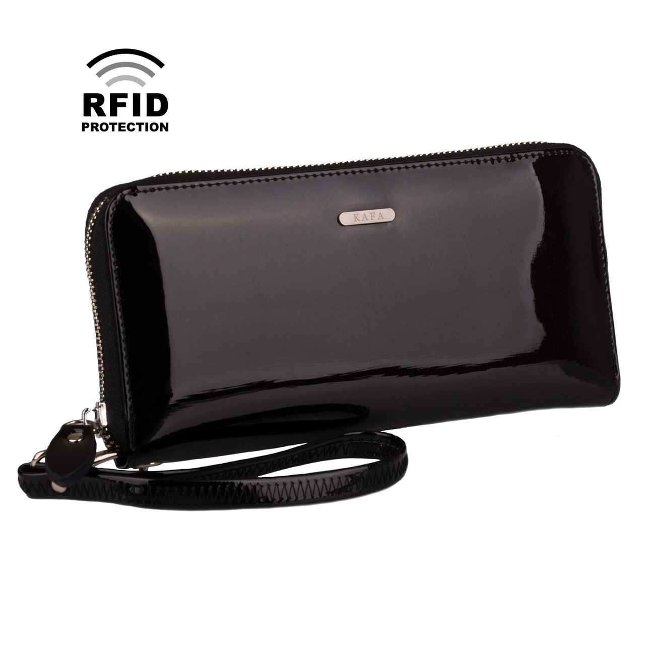 a5a1ab182ad3 Кошелек Женский Кожаный Лаковый Kafa с RFID Защитой (BC74 Black) — в ...