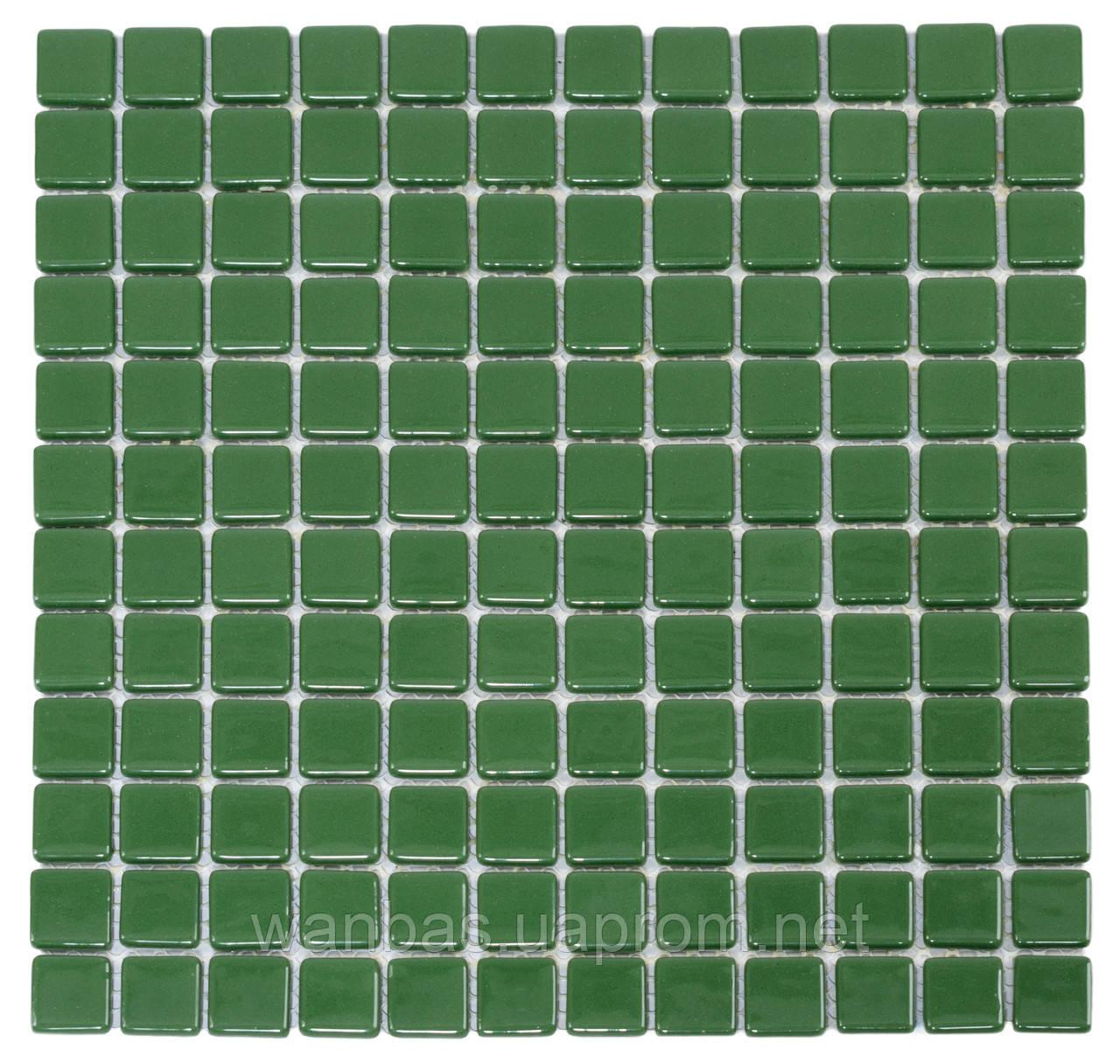 Стеклянная мозаика с закругленными краями   Green MK 25113 25х25 мм.