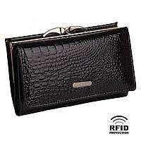 Компактный Женский Кошелек Кожаный Kafa с RFID защитой (AE214 black)
