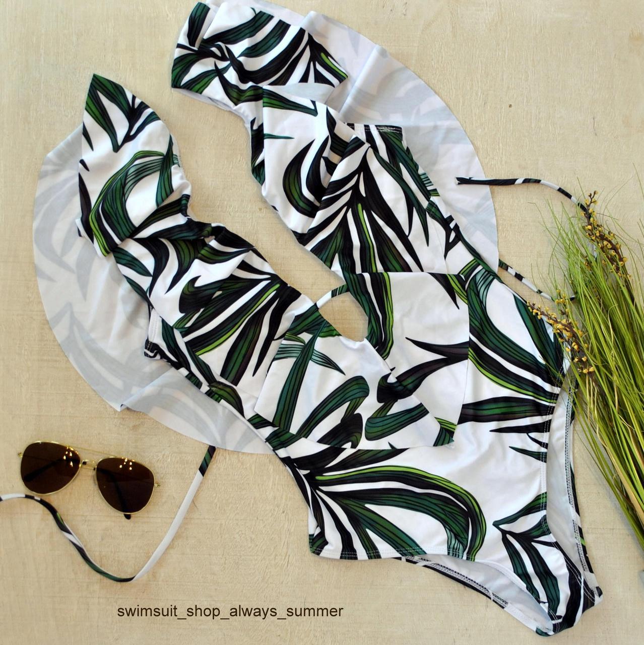Слитный женский купальник в листья