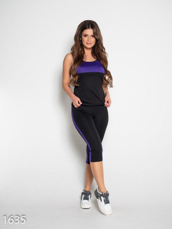 Черно-фиолетовый спортивный костюм с майкой и капри