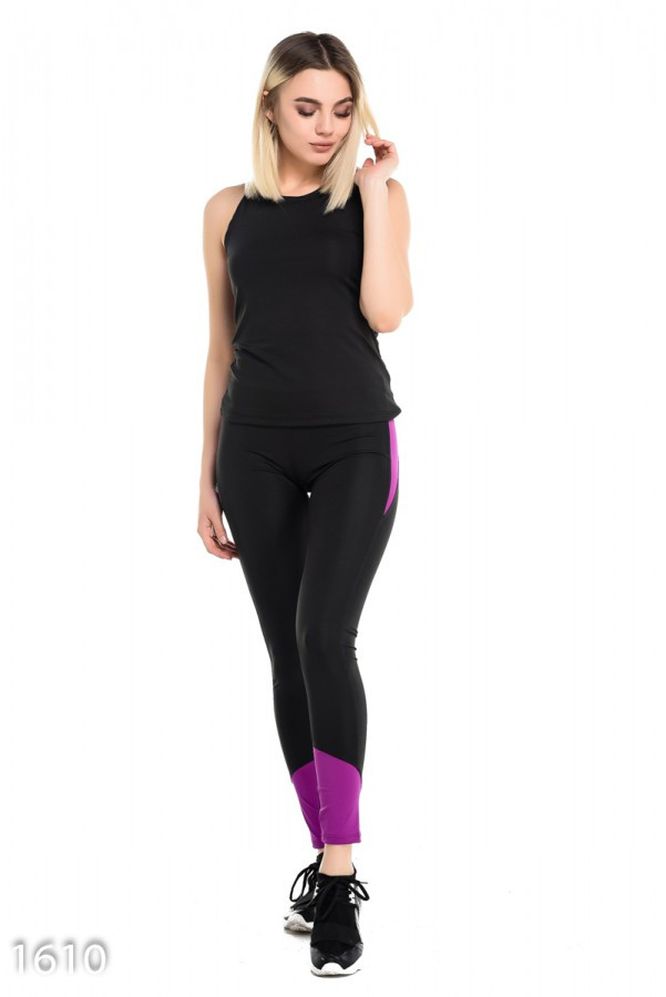 Черный с фиолетовым спортивный костюм из эластика с оригинальной маечкой