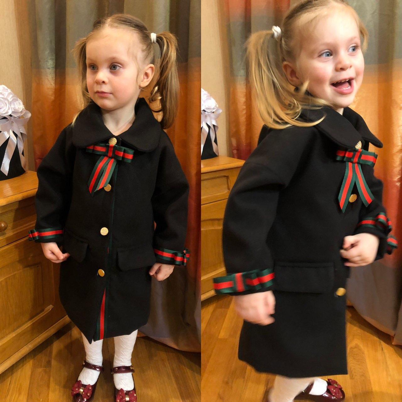Детское пальто, пальто на девочку,весеннее пальто family look в черном цвете