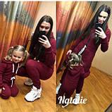 Теплый комбинезон на флисе family look, комбинезон женский ,комбинезон детский фэмили лук , фемили лук,бордо , фото 3