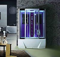 🇵🇱 Гидромассажный бокс BADICO SAN ДЖАКУЗИ: Стекло серое, профиль сатиновый, компьютерное управление, поддон