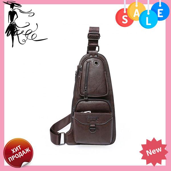 8c482041d490 +Подарок Кожаная мужская сумка через плечо Jeep 777 Bag коричневая, фото 1