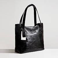 Кожаная сумка модель 1 черный кайман