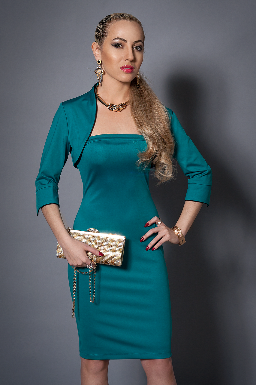 Платье женское с болеро,мод 473-4 размеры 42-44.44-46 бирюза