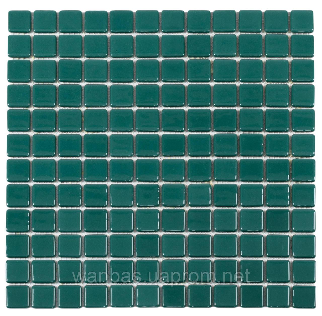 Зеленая стеклянная мозаика с закругленными краями Dark Green MK25112 25х25 мм.