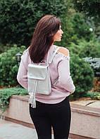 Рюкзак кожаный модель 03 серебристый флотар