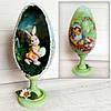 Пасхальное яйцо на подставке с кроликом внутри Сувенир на пасху Ручная работа