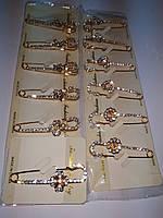 Брошь-булавка 2, золотая в стразах, LH-877