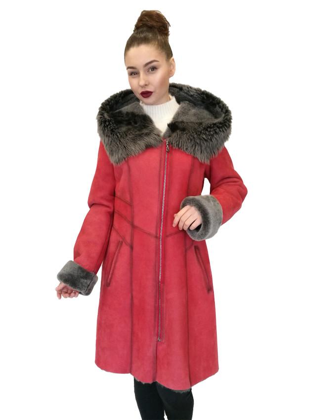 Дубленка, женская  Oscar Fur 343 Красный