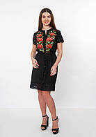 "Чорне вишите плаття-сорочка на гудзиках ""троянди"", арт. 4520"
