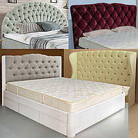 Кровать двуспальная с мягким изголовьем - каталог