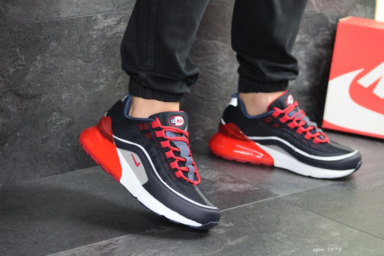 Мужские кроссовки Nike Air Max 95 + Max 270 (темно-синие с красным)