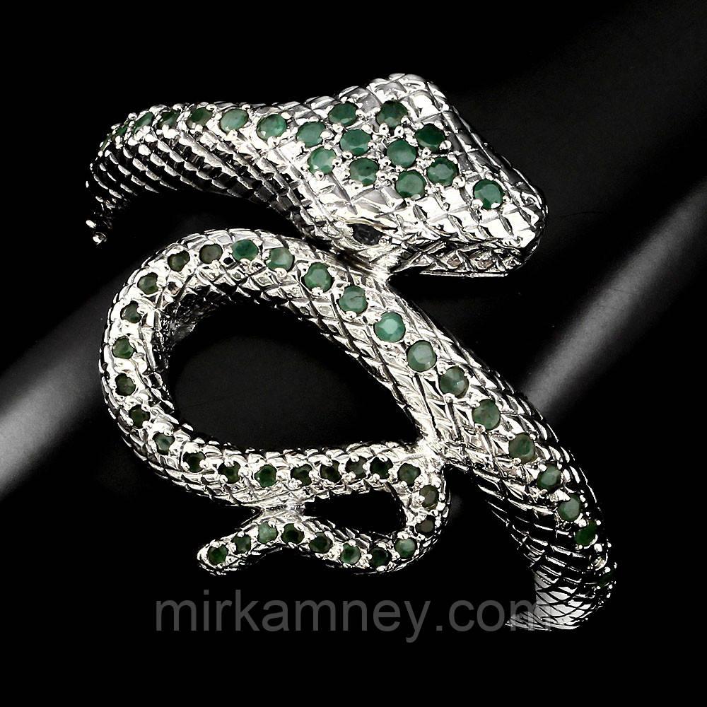 Браслет форма змея Изумруд и Рубин (Африка). Серебро 925, покрытие золотом 14 карат