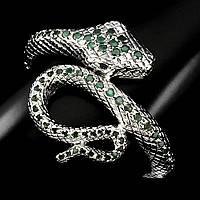 Браслет форма змея Изумруд и Рубин (Африка). Серебро 925, покрытие золотом 14 карат, фото 1