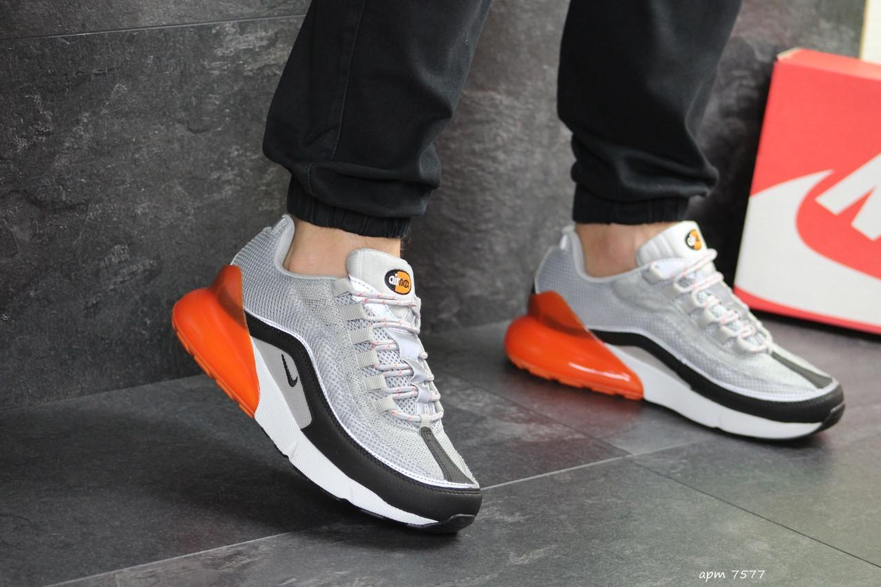 Мужские кроссовки Nike Air Max 95 + Max 270 (серо-оранжевые)