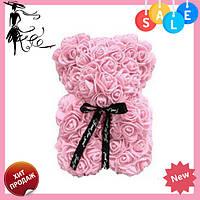 Красивый мишка из латексных 3D роз 40 см с лентой в подарочной коробке   Пудра, фото 1