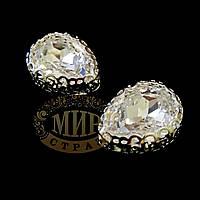 Стразы в ажурных серебряных цапах Люкс, форма Капля, цвет Crystal, 10х14мм, 1шт