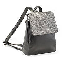 Рюкзак с клапаном KotiСo  30х23х10 см черный титан с серым глиттером