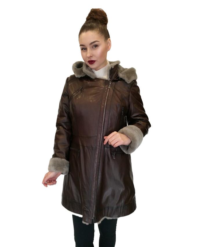 Дубленка женская  Oscar Fur  328 Коричневая