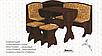Кухонный уголок Виконт со столом и табуретами Пехотин, фото 2