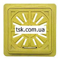 Люк-мини пластмассовый квадратный решетка (желтый) 300х300