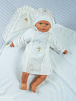 Комплект для крещения - крыжма, рубаха, шапочка. Молочный, фото 1
