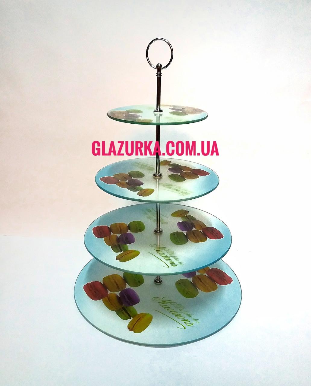 Стойка стеклянная 4х ярусная  для торта , мафинов , прироженных.