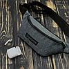 Поясная сумка, бананка, сумка на пояс Supreme, цвет серый, материал Kiten