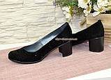 """Туфли женские замшевые на каблуке, декорированные камнями. ТМ """"Maestro"""", фото 3"""