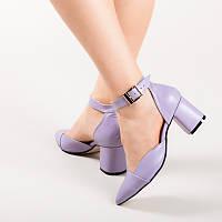 Женские кожаные туфли на маленьком каблуке, с ремешком. Натуральная кожа. Каблук 6,5 см