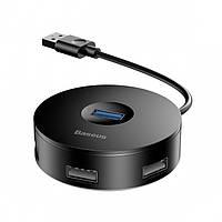 Переходник Baseus Round Box HUB Adapter на 4 порта USB, Черный (CAHUB-F01)