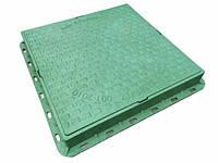 Люк пластиковый квадратный 680х680х80 (зеленый)