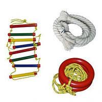 Комплект детского оборудования (канат 2,2 м, кольца, лестница) InterAtletika