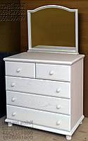 """Комод с зеркалом из массива ясеня """"Стандарт 2"""" из дерева с ящиками в спальню белый"""
