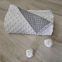 Плед для новорожденного в коляску 80х100 плюш бело-серый