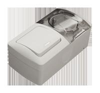 Выключатель с посветкой + Розетка с заземлением и крышкой комби пыле-влагозащищенная Ел-би Ева