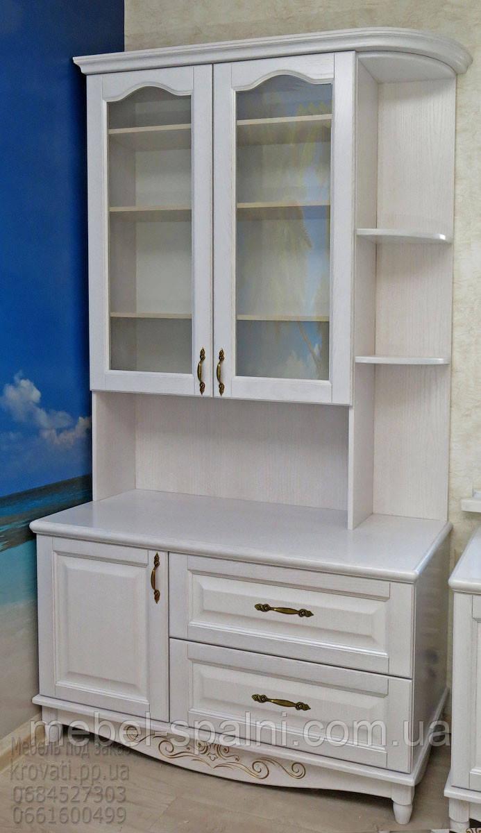 """Сервант """"Лорд"""" стенка в гостиную мебельная горка шкаф - витрина белая мебель в зал"""
