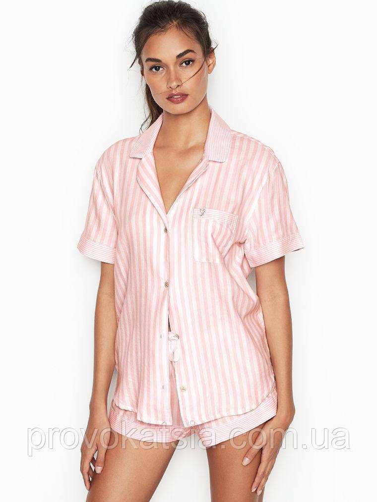 Розовая пижама в полоску Victoria`s Secret оригинал Flannel Boxer PJ
