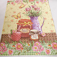 Готовое хлопковое полотенце с кухонным натюрмортом и цветами 46х58 см