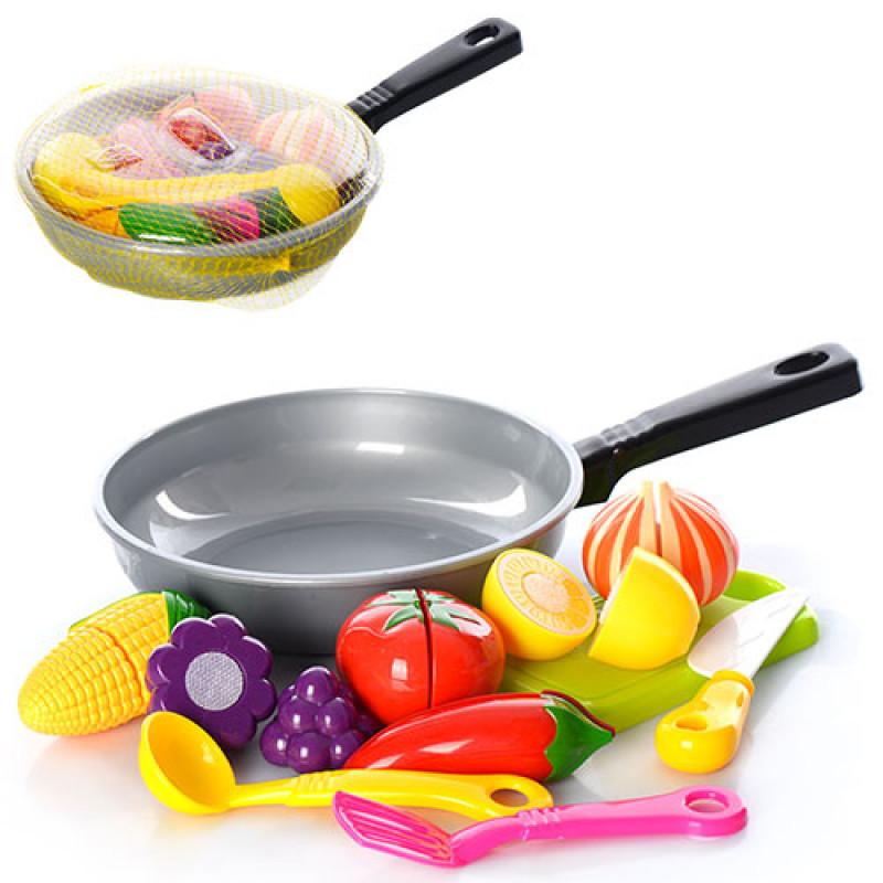 Продукти 685 на липучці, сковорода, дощечка, ложка, лопатка, в сітці, 31-19-4 см