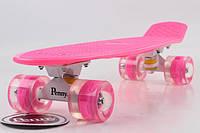Скейтборд Penny Board Original 22 Розовая Доска и Малиновые Светящиеся Колеса