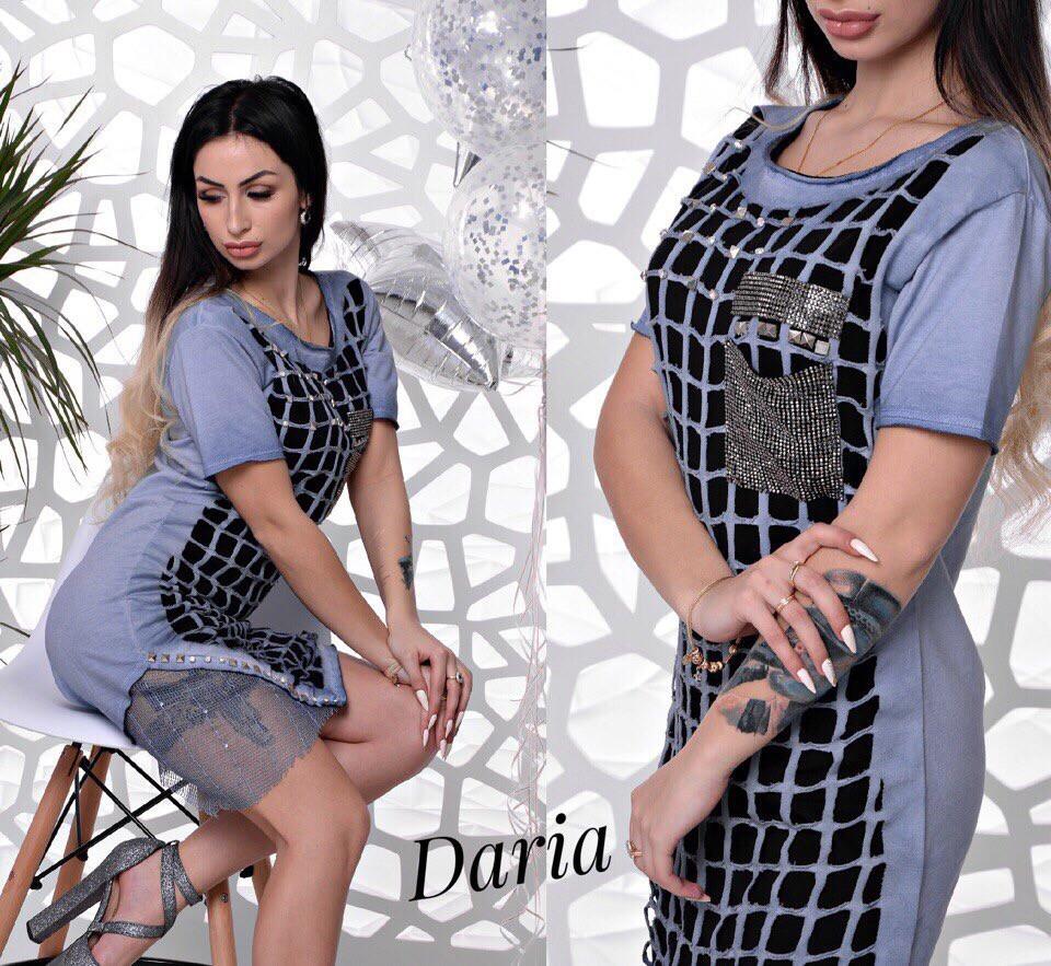 Плаття, тканина:ковбаса варена - коттон, декор камені. Туреччина. Розмір:З ( 42), М ( 44 ), Л ( 46 ). Колір: блакитний (6265)
