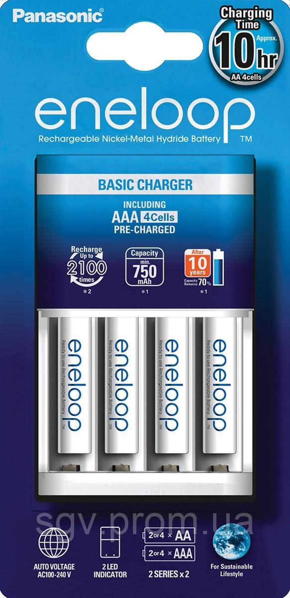 Аккумуляторы Panasonic Basic Charger New + Eneloop 4AAA 750 mAh NI-MH