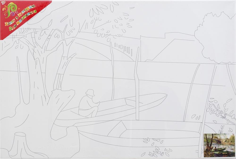 """Холст с контуром """"Лодки"""" (40см*60см)"""