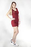 Трикотажный спортивный костюм бордового цвета Майка и Шорты, фото 1